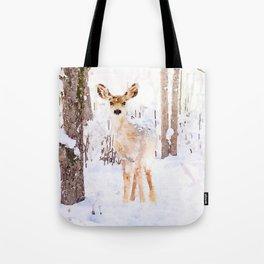 Little Deer in the Snow Tote Bag