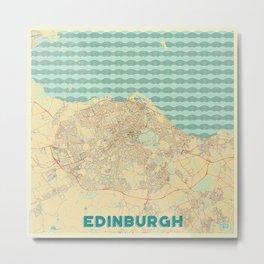Edinburgh Map Retro Metal Print