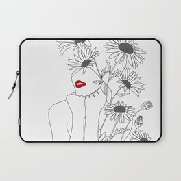 Minimal Line Art Girl with Sunflowers Laptop Sleeve