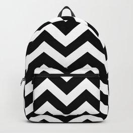 Black color - Zigzag Chevron Pattern Backpack