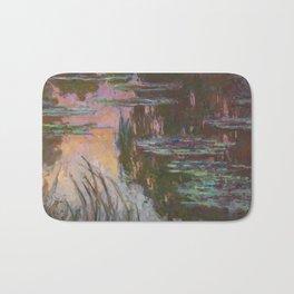 Water Lilies - Setting Sun by Claude Monet Bath Mat