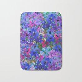Cool Blue Summer Garden Bath Mat