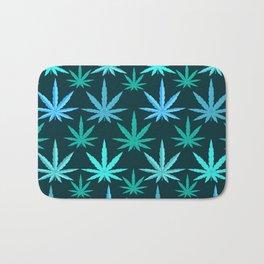 Marijuana Teal Weed Bath Mat