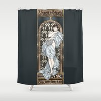 mucha Shower Curtains featuring A Scandal in Belgravia - Mucha Style by Alessia Pelonzi