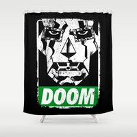 doom Shower Curtains featuring Obey DOOM by TeeKetch