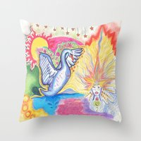 swan Throw Pillows featuring swan  by Spirit Candy