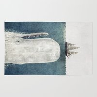 typography Area & Throw Rugs featuring The Whale - vintage  by Terry Fan