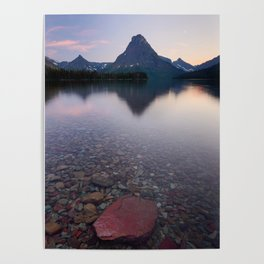TWO MEDICINE LAKE SUNSET - GLACIER NATIONAL PARK MONTANA - LANDSCAPE NATURE PHOTOGRAPHY Poster