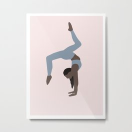 Woman doing yoga on pink background Metal Print