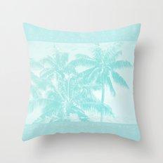 Palm trees Hawaii Tropical Cyan Throw Pillow