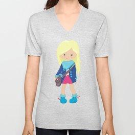 Fashion Girl, Blonde Hair, Blue Jacket, Blue Boots Unisex V-Neck