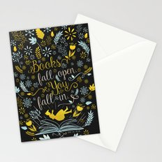 Books Fall Open, You Fall In - Black Stationery Cards