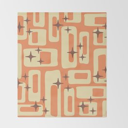 Retro Mid Century Modern Abstract Pattern 576 Orange Brown Throw Blanket