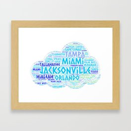Cloud illustrated with cities of Florida State USA Framed Art Print