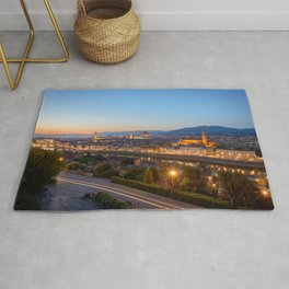 FLORENCE ITALY AT NIGHT CITY LIGHTS ITALIAN TOWN Rug