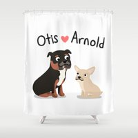 """arnold Shower Curtains featuring Custom Artwork, """"Otis and Arnold"""" by Cassandra Berger"""