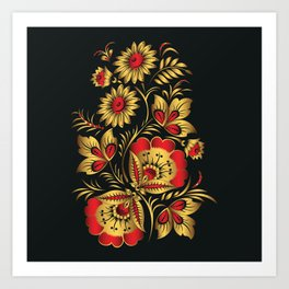Golden russian folk Art Print