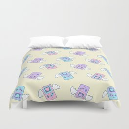 Press Heart to Continue Duvet Cover