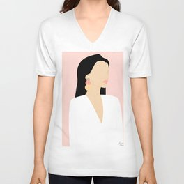 Minimal boho art women in pink - (Sunny Mountains Collection) Unisex V-Neck