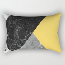 Black and White Marbles and Pantone Primrose Yellow Color Rectangular Pillow