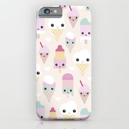 Cute kawaii summer Japanese ice cream cones and popsicle p iPhone Case