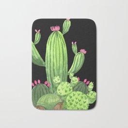 Flowering Cactus Bunch on Black Bath Mat