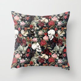 Vintage Floral With Skulls Throw Pillow