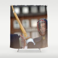 samurai Shower Curtains featuring Samurai by Premium