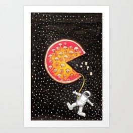 Take out pizza moon Art Print