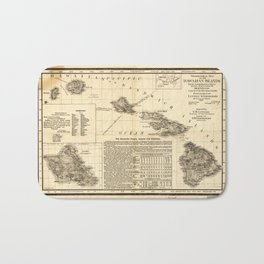 Topographical map of the Hawaiian Islands (1893) Bath Mat