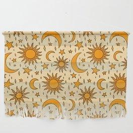 Vintage Sun and Star Print Wall Hanging