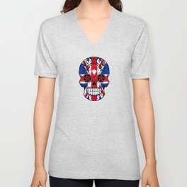 Sugar Skull with Roses and the Union Jack Flag Unisex V-Neck