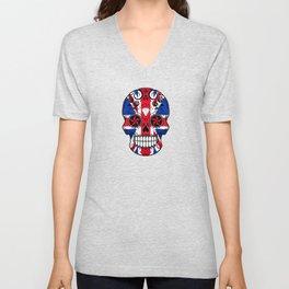 Sugar Skull with Roses and the Union Jack Flag Unisex V-Neck