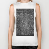 paris map Biker Tanks featuring Paris map by Le petit Archiviste