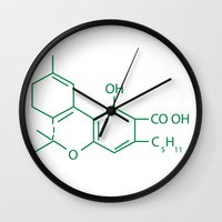 cannabis Wall Clocks featuring Cannabis Chemistry: THC by WeedPornDaily