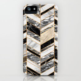 Abstract Chevron Pattern - Black and White Marble iPhone Case