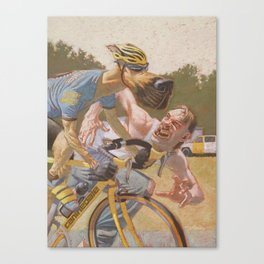 Man Chases Dog, Dog Pedals Harder Canvas Print