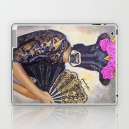 Flamenco-dancer with hand fan Laptop & iPad Skin