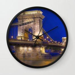 Historic Széchenyi Lánchíd Chain Bridge Across Danube River Budapest Hungary Europe Ultra HD Wall Clock