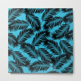 Palm Frond Tropical Décor Leaf Pattern Black on Cyan Vivid Arctic Blue Metal Print