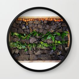 Coal and Leaves 01 Wall Clock