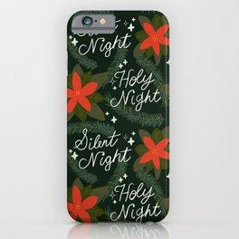 Silent Night Holy Night Retro Holiday Winter Music Christmas Pattern iPhone Case