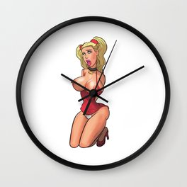 boobs girl chick sexy hot nasty tits red mouth skirt hair wow Wall Clock