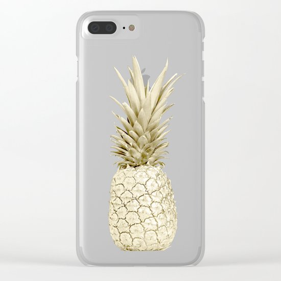 Pineapple Pineapple Gold on Navy Blue Clear iPhone Case