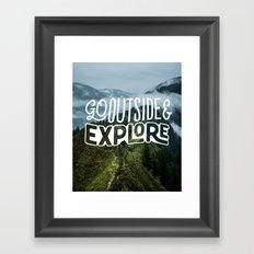 Go outside & explore Framed Art Print