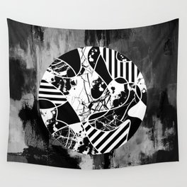 Circle Of Contrast - Black and white textured patterns, stripes, paint splats and marble Wall Tapestry