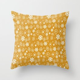 Snowflake Snowstorm In Yellow Mustard Throw Pillow