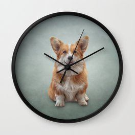 Drawing Dog breed Welsh Corgi 7 Wall Clock
