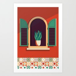 Lisbon Lisboa travel poster window mosaic art  Art Print