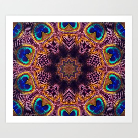 Peacock Fan Star Abstract Art Print